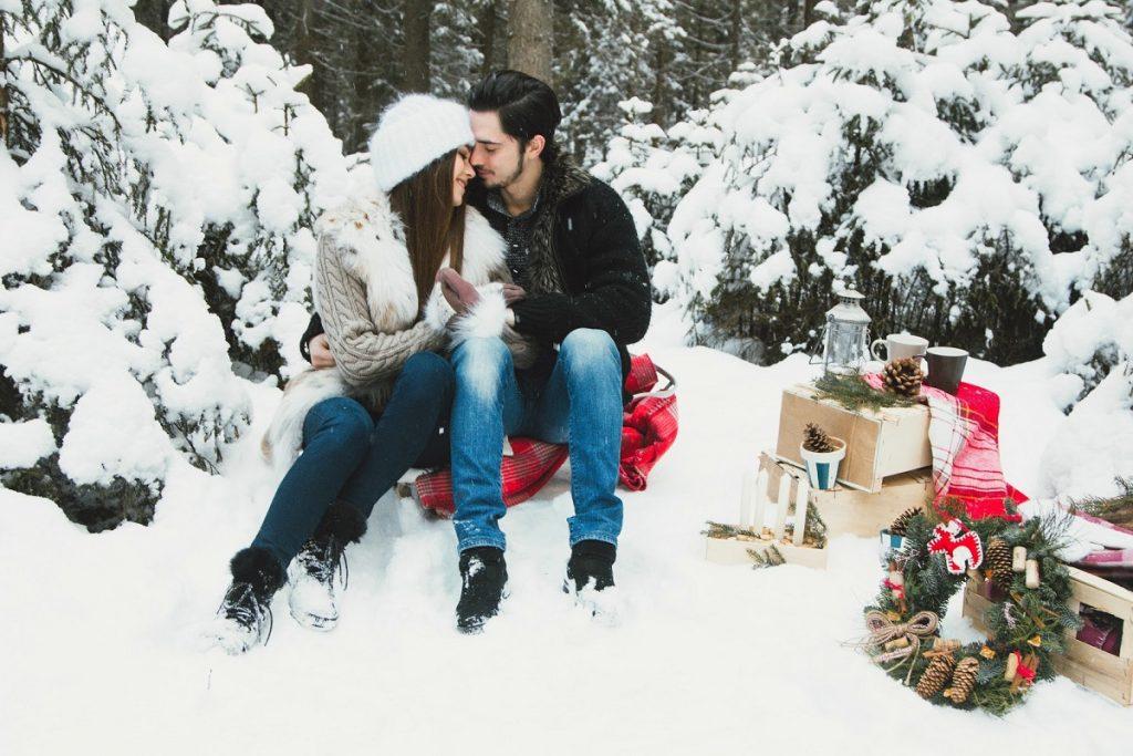 романтическая фотосессия зимой
